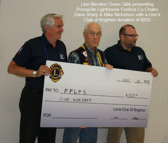 Lion's club donation to PL Festival, 2015
